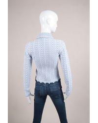 Alaïa - Light Blue White Stretchy Textured Knit Zip Jacket - Lyst