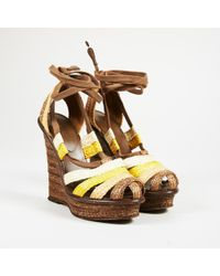 Bottega Veneta - Multicolour Raffia Ankle Wrap Platform Wedge Sandals - Lyst