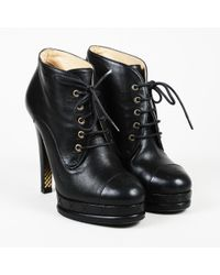 Chanel - Leather Lace Up Ankle Booties - Lyst