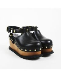 Sacai - Black Leather Studded Wedge Clogs - Lyst