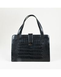 Ralph Lauren - Black Crocodile Silver Tone Shoulder Bag - Lyst