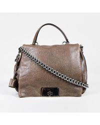 Céline - Brown Pebbled Leather Silver Tone Chain Link
