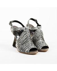 "Proenza Schouler - Gray Leather Embossed Lizard ""kaz"" Peep Toe Sandals - Lyst"