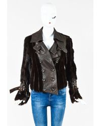 Dior - Brown Leather & Mink Fur Double Breasted Jacket - Lyst
