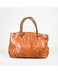 Nancy Gonzalez - Brown Crocodile Skin Top Handle Pleated Tote Bag - Lyst