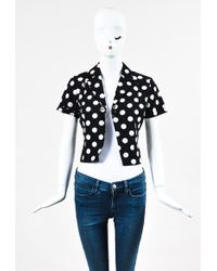Boutique Moschino - Nwt Black White Cotton Blend Cropped Dotted Jacket - Lyst