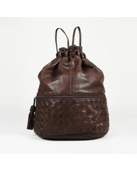 08aed702aa45 Bottega Veneta - Vintage Intrecciato Accented Leather Backpack - Lyst