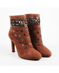 Alaïa - Brown Suede Grommet Embroidered Ankle Boots - Lyst