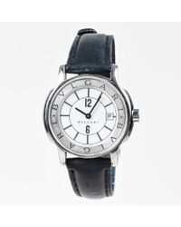 """BVLGARI - Stainless Steel Black Leather 25 Mm """"solotempo"""" Watch - Lyst"""