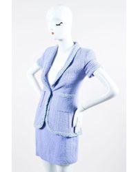 Chanel - Boutique 95p Periwinkle Metallic Tweed Sequin Trim Ss Skirt Suit - Lyst