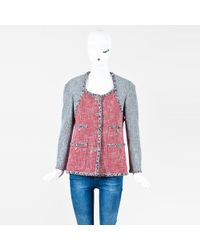 Chanel - Red Multicolor Tweed Colorblock 'cc' Button Jacket - Lyst