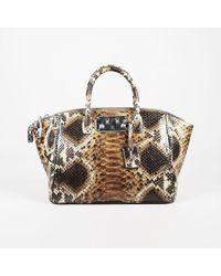 "VBH - ""indio Caramel"" Brown Python ""brera 32cm"" Top Handle Bag - Lyst"