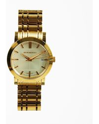 "Burberry - Gold Tone Stainless Steel & Sapphire Crystal ""heritage"" Bracelet Watch - Lyst"