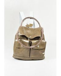 Brunello Cucinelli | Green Patent Leather & Suede Top Handle Backpack | Lyst