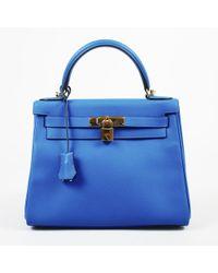 "Hermès - Blue Hydra Evercolor Leather ""kelly Retourne Ii 28"" Satchel - Lyst"