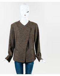 Lafayette 148 New York - Brown Wool Blend Buttoned Asymmetric Jacket - Lyst