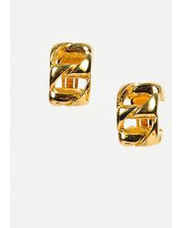 Dior - Gold Tone Chainlink Clip On Hoop Earrings - Lyst