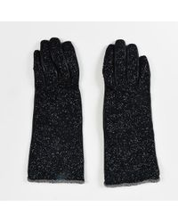 Chanel - Black Leather Tweed Glitter Embellished Chain Trim Gloves - Lyst