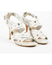 Dior - Dior Gray Leather Silver Tone Studded Open Toe High Heel Sandals - Lyst
