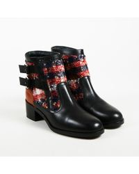 Chanel - Multicolor Tweed & Lambskin Leather Double Buckle Ankle Boots - Lyst