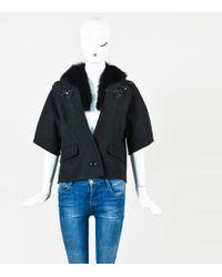 Proenza Schouler - Grey Wool Fur Embellished Jacket - Lyst