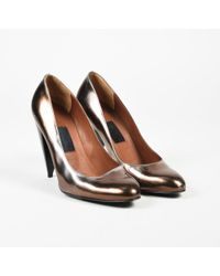 Lanvin - Metallic Brown Leather Round Tone High Heel Court Shoes - Lyst