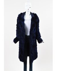 Tom Ford Violet Blue Alpaca Fur Leather Oversized Collar Long Coat