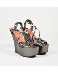 Alaïa - Gray Metallic Snakeskin Open Toe Platform Wedges - Lyst