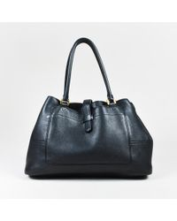 "Loro Piana - Black Grained Leather Gold Tone ""bellevue"" Shoulder Bag - Lyst"