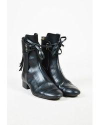 Chanel | Black Calfskin Leather Fringed Lace Up Mid Calf Boots | Lyst