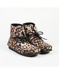 3b4bc97e3eec7 Inuikii Leopard-print Calf Hair And Leather Boots in Gray - Lyst