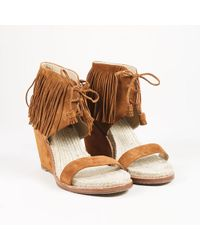 Paul Andrew - Brown Suede Fringe Wedge Heel Jute Trim Sandals - Lyst
