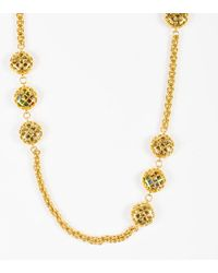 Chanel - Vintage Gold Tone Multicolor Caged Gripoix Chain Link Station Necklace - Lyst