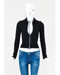 Alaïa | Black Knit Heart Patterned Collared Zip Up Jacket | Lyst