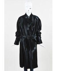 Hermès - Black Pony Hair Patch Belted Peak Lapel Single Button Ls Coat - Lyst