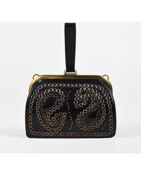 Dries Van Noten - Black Leather Studded Grommet Embroidered Wristlet Clutch Bag - Lyst