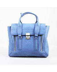 "3.1 Phillip Lim - Blue Textured Leather ""medium Pashli"" Satchel Bag - Lyst"
