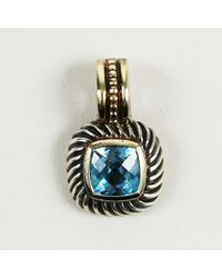 "David Yurman - ""albion"" Sterling Silver 14k Gold & Blue Topaz Pendant - Lyst"
