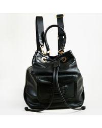 Pierre Hardy - Nwot Black Baby Calfskin Leather Drawstring Bucket Backpack - Lyst