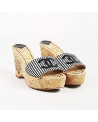Chanel - Black & White Canvas Cork Wedge Sandals - Lyst