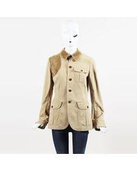Ralph Lauren - Blue Label Beige Cotton Blend Corduroy Collar Jacket - Lyst