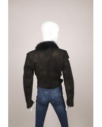 Ralph Lauren Purple Label Black/gold Print Shearling Leather Crop Jacket