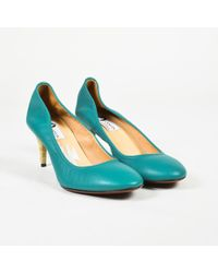 Lanvin - Blue Grained Leather Woven Mid Heel Pumps - Lyst