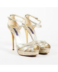 Ralph Lauren - Collection Iridescent Multicolor Snakeskin Peep Toe Sandals - Lyst
