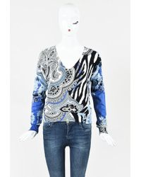 Etro - Black Multicolor Knit Long Sleeve Mixed Print V Neck Sweater - Lyst