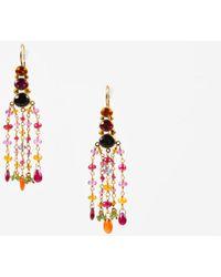Mallary Marks - 22k 18k Yellow Gold Multicolor Pink Gemstone Chandelier Earrings - Lyst