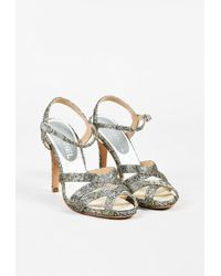 Chanel | Metallic Silver & Gold Lace Peep Toe Strappy Sandals | Lyst