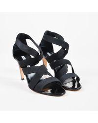 Manolo Blahnik - Nib Black Elastic Strappy Apeni Heeled Sandals - Lyst
