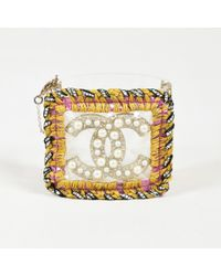 Chanel - Clear Acrylic Multicolor Woven Faux Pearl 'cc' Cuff Bracelet - Lyst