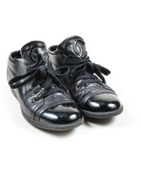 Chanel - Black Leather Patent Cap Toe 'cc' Sneakers - Lyst